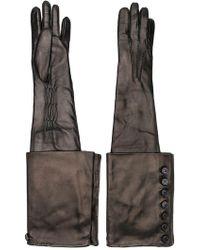 Ann Demeulemeester Long Button Detail Gloves - Black