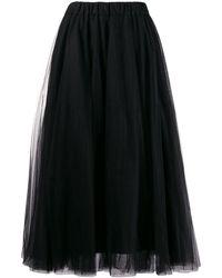 P.A.R.O.S.H. Tulle Midi Skirt - Black