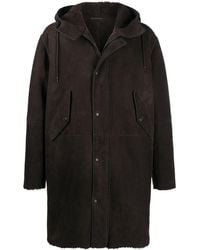 Closed Hooded Shearling Parka - Brown