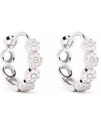 Dinny Hall 14kt White Gold Shuga Pave Diamond huggie Hoop Earrings - Metallic