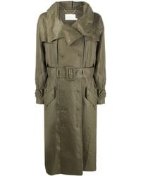 Zimmermann Double Breasted Waxed Trench Coat - Green