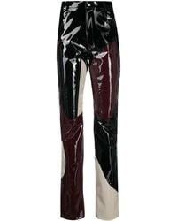 GmbH Colour-block Vinyl Trousers - Black