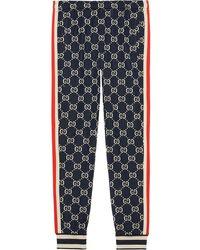 Gucci Pantalon de jogging à motif Suprême GG - Bleu