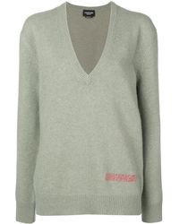 CALVIN KLEIN 205W39NYC Plunge Neck Oversized Jumper - Green