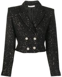 Alessandra Rich スパンコール クロップドジャケット - ブラック