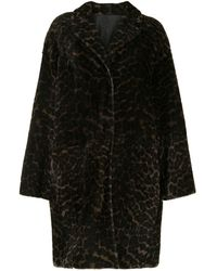 Yves Salomon Leopard Faux-fur Coat - Black