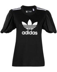 adidas ロゴ パフスリーブ Tシャツ - ブラック