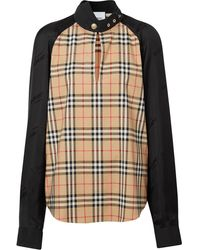 Burberry Vintage Check Panelled Blouse - Black