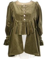 Renli Su Pleated-detail Square-neck Jacket - Green