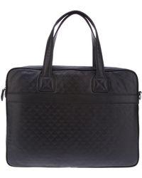 Emporio Armani Logo Embossed Laptop Bag - Black