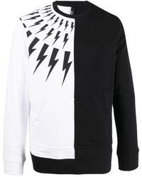 Neil Barrett Sweatshirt mit Blitz-Print - Schwarz