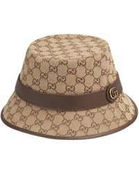 Gucci GG Fedora Hoed Van Canvas - Naturel
