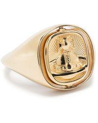 Vivienne Westwood Серебряный Перстень С Гравировкой Orb - Металлик