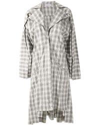 Mara Mac Oversized Checked Coat - Gray