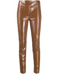 Pinko Croc-effect Vinyl Trousers - Brown