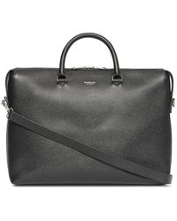 Burberry Triple Stud Grainy Leather Briefcase - Black