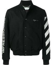 Off-White c/o Virgil Abloh Diagonal Stripe Varsity Jacket - Black