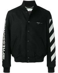 Off-White c/o Virgil Abloh Diagonal Stripe Varsity Jacket - Zwart