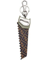 Fendi Ff Motif Saw Key Charm - Brown