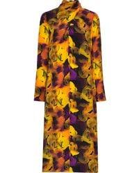 Ganni Silk Mix Midi Dress - Yellow