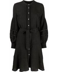 120% Lino Robe-chemise à détails perforés - Noir