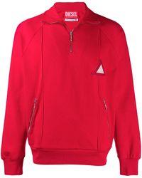Diesel Red Tag Sweatshirt mit kurzem Reißverschluss - Rot
