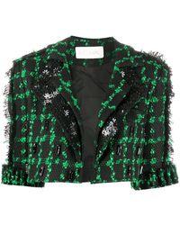 Loulou Short-sleeve Cropped Jacket - Black