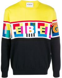Iceberg インターシャロゴ セーター - ブラック