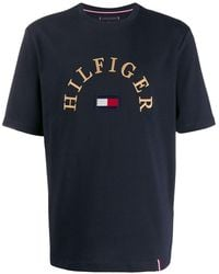 Tommy Hilfiger T-shirt à logo brodé - Bleu