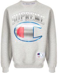 Supreme X Champion Chrome Crew Neck Sweatshirt - Grey