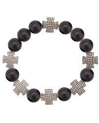 Loree Rodkin - Onyx Cross Charm Bracelet - Lyst