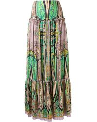 Etro - Abstract Print Peasant Skirt - Lyst