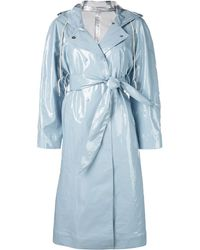 ALEXACHUNG Hooded Belted Coat - Blue