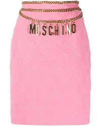 Moschino Logo Belt Quilted Pencil Skirt - Pink