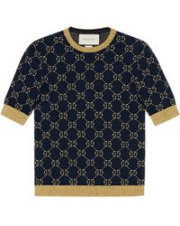 Gucci GG Cotton Lurex Top - Blue