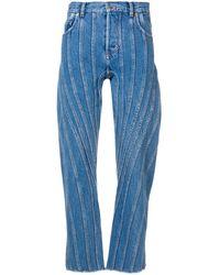 Mugler Jean à coutures contrastantes - Bleu