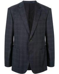 Kent & Curwen チェック シングルジャケット - ブルー