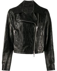 DROMe Байкерская Куртка С Тиснением Под Кожу Крокодила - Черный