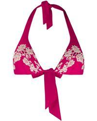 Carine Gilson レース ビキニトップ - ピンク