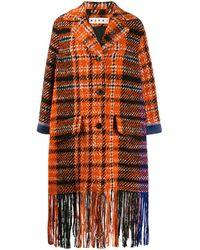 Marni Karierter Mantel mit Fransen - Orange
