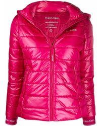 Calvin Klein フーデッド パデッドジャケット - ピンク