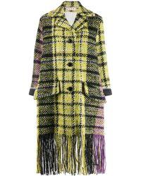 Marni Manteau à carreaux et franges - Multicolore