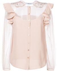 Blumarine - Sheer Panel Shirt - Lyst