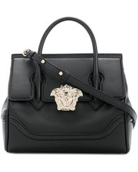 Lyst - Versace Small Palazzo Empire Color Block Leather Tote Bag in Pink 85367fe6ea5dc