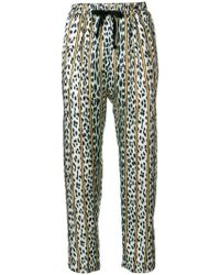 Forte Forte - Leopard Print Striped Trousers - Lyst