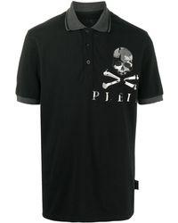 Philipp Plein カモフラージュ スカル ポロシャツ - ブラック