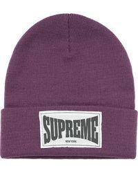 Supreme Шапка Бини Woven Label - Пурпурный