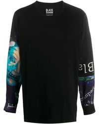 Yohji Yamamoto プリント スウェットシャツ - ブラック