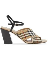 Burberry Check-pattern 70mm Block-heel Sandals - Multicolor