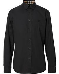 Burberry Overhemd Met Geborduurd Logo - Zwart